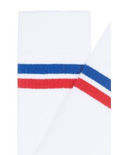 Mavi Bileği Çizgili Spor Çorap Beyaz